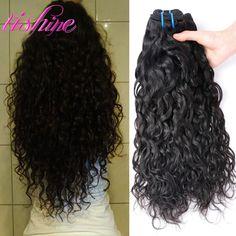 Peruvian Water Wave Weave Ocean Wave Virgin Hair 3 Bundles Peruvian Human Hair Extensions 1B Natural Wavy Curly Hair Wave