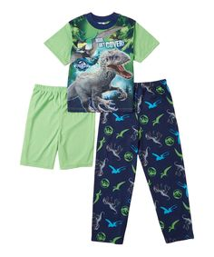 Look at this #zulilyfind! Jurassic World Three-Piece Pajama Set - Boys by Jurassic World #zulilyfinds