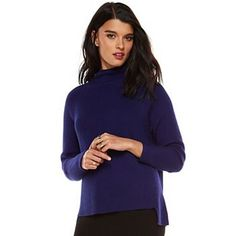 Elie Tahari for DesigNation Ribbed Funnel Neck Sweater - Women's