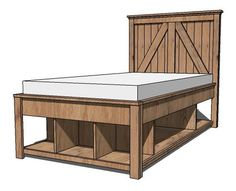Ana White plans, Build a Brookstone Twin Storage bed. Like this for Tucker's room but with drawers instead of cubbies. Shorter headboard.
