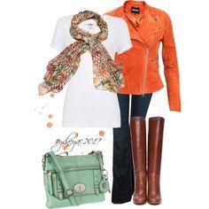 Orange Jacket with matching scarf :)