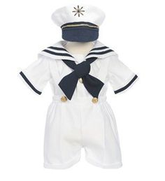 Little Boys White Sailor Suit 4-piece with Hat Size 4T by Whispers. $39.99. You will love this fine quality nautical sailor suit for baby, infant or young toddler boys. Perfect for any special occasion, weddings and homecomings. Set includes white satin shirt, shortalls hat and sailor tie. Hat is matching white satin with embroidery.. Save 31%!
