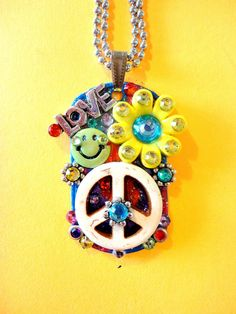 Hippie Peace Sign Dog Tag Pendant Number 793 by BradosBling, $29.99