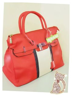 Mousse printed bag - orange and white modern style. Size : L39 x H27 x W18cm Price : US$79 Material: Polyester
