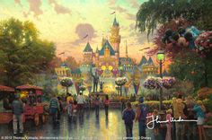 """""""Disneyland 50th Anniversary""""  ...The drama of sunset suggests the end of an era at Disneyland, while the glowing lights at the base of the castle remind us that a new age of imagination and celebration awaits.  ~ Thomas Kinkade.  September 2005"""