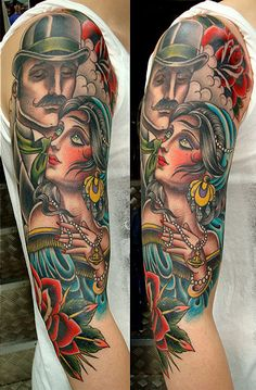 traditional lady head tattoo | fox tattoo # vintage tattoo # tour oner # taki tsan tattoo