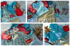 Zwergenverpackung von Farbenmix, Kombination aus Shirt, Cordkleidchen, Leggins und Kapuzenjacke aus Baumwollfleece und Halstuch)