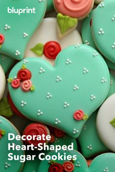 "There's no better way to say ""I love you"" than with sugar cookies — especially ones decorated to look this good. This Valentine's Day, celebrate your special someone with beautiful sugary treats. Cake Cookies, Sugar Cookies, Dessert Recipes, Desserts, Baking Ideas, Cookie Decorating, Biscuits, Valentines Day, Sweet Tooth"