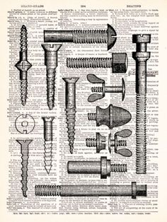 Buy 2 Get 1 FREE - Hardware Nuts And Bolts and Screws Vintage Dictionary Print Vintage Book Print Page Art Upcycled Vintage Book Art. $8.98, via Etsy.
