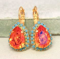Hey, I found this really awesome Etsy listing at https://www.etsy.com/listing/230478024/orange-turquoise-earrings-swarovski