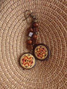 Wooden earrings with hand-painted...Ar-Mari Rubenian...