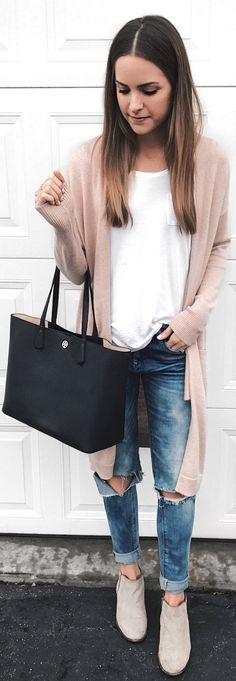 #winter #fashion / Beige Cardigan / White Tee / Destroyed Denim / Grey Suede Booties / Black Leather Tote Bag