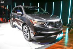 2017 Acura MDX Debuts New Nose, Sport Hybrid Model for New York. More power and standard AcuraWatch active safety. Car Guide, Suzuki Swift, Classy Cars, Acura Nsx, Car Goals, First Drive, Sports Sedan, Luxury Suv, Automotive News