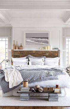 GREAT neutral bedroom with beach decor vibe. Grey and white master bedroom with rustic headboard: