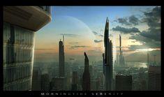 futuristic city, morningtide serenity, sci-fi, future buildings, futuristic architecture, future city, tower, skyscraper