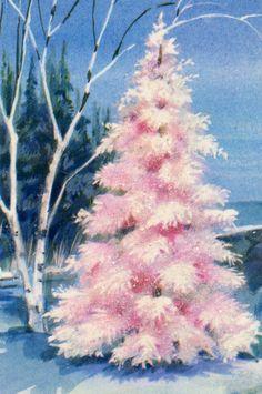 Retro Light Pink Christmas Tree