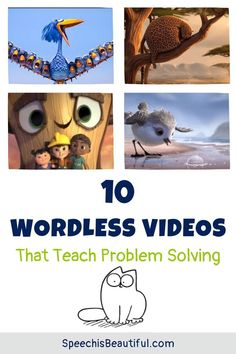 10 wordless videos that teach problem solving – I use these videos with in my speech therapy with older elementary students. Wordless videos are also great for teletherapy sessions. You will be surprised how much language you will get from your quietest kids as they figure out how to solve the characters' problems. - Speech is Beautiful