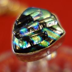 LARGE METALIC GREEN DICHROIC  TAXCO 925 STERLING SILVER UNIQUE HANDAMDE RING 7 #Handmade #Band