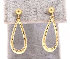 14k Solid Gold Drop Earrings Light Weight Textured Design Classy Free Shipping #DropDangle
