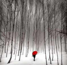 Snow - Walk by Ahmet Turan Kural - #snow #red