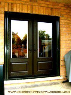 Double Fiberglass Garden Door with Built In Mini-Blinds and Exterior Retractable Screen Painted to Blend In