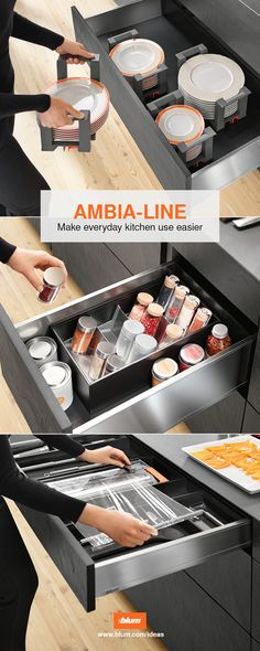 AMBIA-LINE, the elegant inner dividing system for pretty tidyness in kitchen cabinets. More inspiration for beautiful and practical kitchens on www.blum.com/ideas