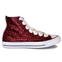Women s Sparkly Glitter Converse All Stars High Top - Burgundy. Glitter  Shoe Co 6454a684c