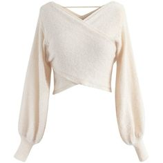 Chicwish Shimmering Cross Wrapped Crop Knit Top in Cream (2,465 DOP) ❤ liked on Polyvore featuring tops, white, wrap top, white wrap top, white top, shimmer tops and cream crop top