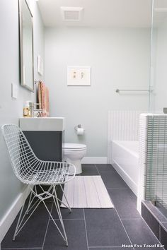 lovely bathroom color in windowless bathroom by Nanette Wong