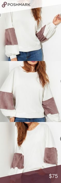 Blush & Snow Pullover White & Blush Pullover Long Sleeve  Blush tone is fuzzy    65% Cotton, 35% Polyester Round Neckline Fabric has some stretch Regular Fit  Bust(cm) : 94cm Sleeve Length(cm) : 70cm Length(cm) : 61cm Cuff(cm) : 18cm  Size Available : One-size Tops Sweatshirts & Hoodies
