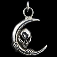 Sterling Silver Skull & Moon Pendant - Detailed item view - Steampunk Outfitters