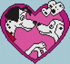 Pongo And Perdy From 101 Dalmations (Square) Perler Bead Pattern / Bead Sprite