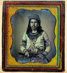 Circa 1850-55 daguerreotype of an unknown frontiersman who appears to be part Indian