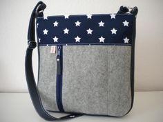 LuckyStar Woll-Filz-Tasche (Grau & Marine) von emiLieb-lingstaschen auf DaWanda.com