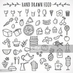 Hand drawn set of food icons