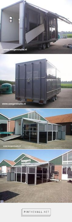 Trailer to take carriages and portable stabling. The stabling system is an off-the-peg (stock design) panel system used for event stabling. These are stored in a full length locker, the doors of this locker can provide a solid roof to the stables.  Very common in the UK, but not usually so robust.