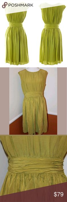 BODEN 16 Light Olive Green Pleated Selina Dress BODEN Women's Light Olive Green Pleated Selina Dress   Semi fitted shape Flattering fitted shape through bust and waist with a full skirt Fully lined Sleeveless Gathers from neckline Self fabric waistband with gathering detail Length finishes at knee Fabric-covered buttons on the back Concealed side zip Style: WH449 Retails new for $218  Size: 16 L. Please refer to pictures for the measurements.   Fabric:  - Outer: 100% Viscose - Lining: 100%…