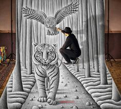 Incredible 3D pencil drawings that allow the artist to step inside the picture