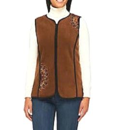NWT BOB MACKIE Wearable Art Embroidered Brown Fleece Vest Zip Front Pockets 2X  #BobMackie