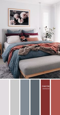 Dark Blue and orange colour combos - the perfect autumn colour palette color schemes grey Grey Bedroom with Blue Grey and Terracotta accents Grey Bedroom Colors, Bedroom Colour Palette, Bedroom Orange, Grey Teal Bedrooms, Teal Bedroom Accents, Colour Palette Autumn, Color Palette Gray, Bedroom Ideas Grey, Grey And Orange Living Room
