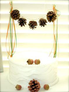 Pinecone Cake Gourmet Bunting Garland Banner Vintage Photo Props Pinecones (custom orders welcome)