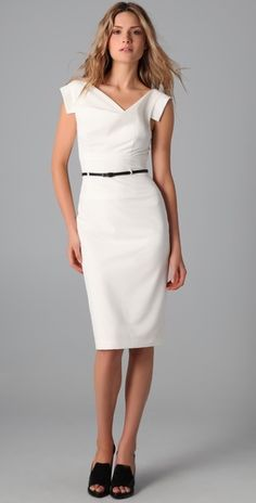 White belted dress.