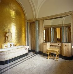 Vanity from the heavens. Gilded gold high-end bathroom vanity in Eltham Palace, England.