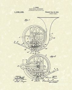 French Horn Musical Instrument 1914 Patent Poster by Prior Art Design. All posters are professionally printed, packaged, and shipped within 3 - 4 business days. Choose from multiple sizes and hundreds of frame and mat options. Canvas Wall Art, Wall Art Prints, Music Drawings, Patent Drawing, French Horn, Thing 1, Patent Prints, Art Music, Musical Instruments