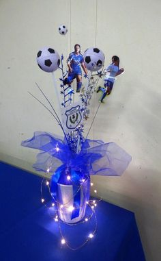 Soccer presentation table centrepieces