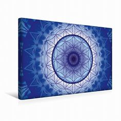 Premium Textil-Leinwand 45 cm x 30 cm quer Mandala Blume des Lebens blau | Wandbild, Bild auf Keilrahmen, Fertigbild auf echter Leinwand, Leinwanddruck