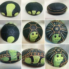 #Paint a #Turtle on a Rock for Your Patio!  These can be any color and size you want!!! Go simple or add super detail.  My next one will be painted with pearl acrylics . Be sure to coat with an indoor outdoor satin finish protectant. I prefer the brush on finish.