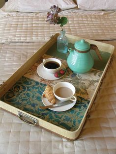 This pretty, practical tray is fashioned from the top of a discarded suitcase.