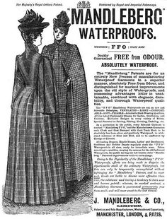 Stay clean and sweet smelling in a Mandelberg Waterproof Coat, 1890. #Victorian #ad #fashion #1800s
