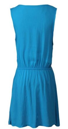 #SheInside Blue Scoop Neck Sleeveless Drawstring Dress - Sheinside.com